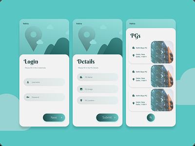 Simple PG Rental Service App Login UI vector simple pg flutter login app