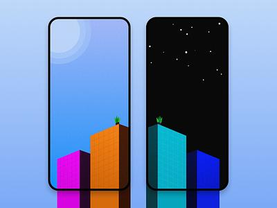 Textured Flat Skyscrapers' Wallpapers texture wallpaper smartphone illustration flat grain