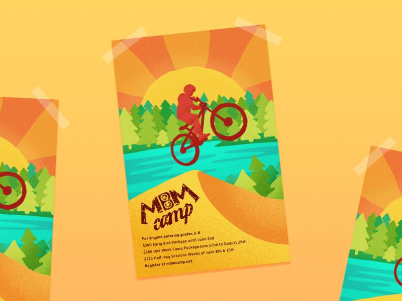 Mountain Bike Camp Poster travel flat branding design vector illustration bike illustrator