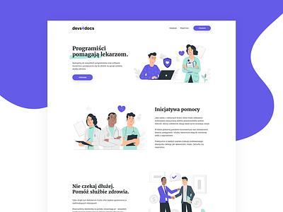 devs4docs - Landing Page - Funding the fight against COVID covid clean ui clean landing page ux website minimal web typography ui design illustration