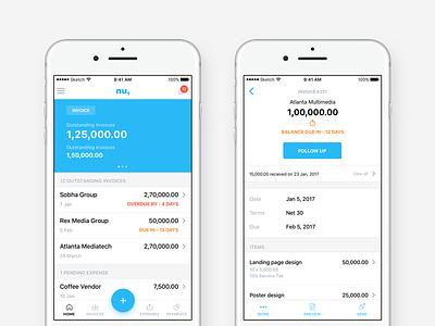 numberz ios app ux ui finance fintech payments app expense invoice cashflow numberz ios