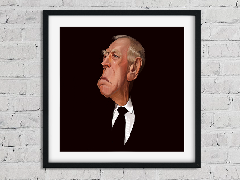 Max Von Sydow portrait illustration digital painting caricature