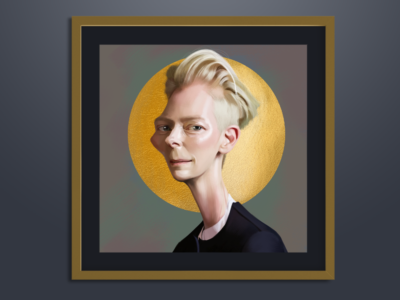 Tilda Swinton portrait illustration digital painting caricature