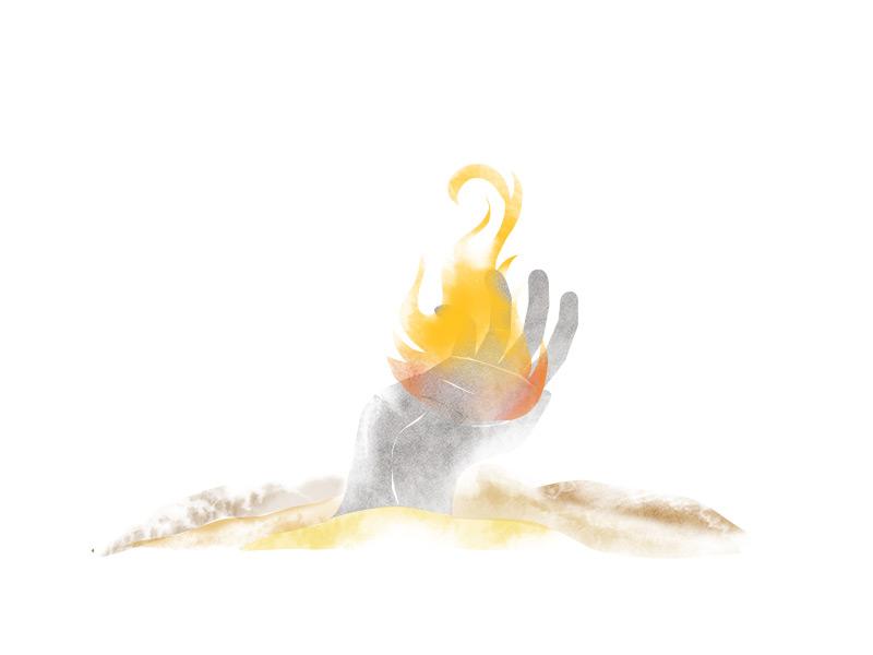 Untold Editorial Illustrations - Ek Irani Chai travel texture shade iran india editorial illustration historical journey desert hand fire