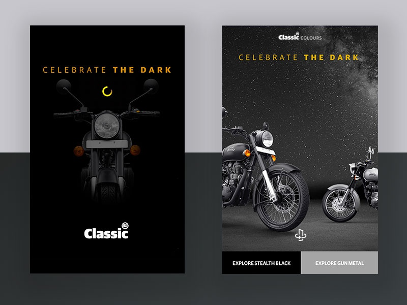 Motorcycle Landing Page vintage motorcycle royalenfield classic uitrends ux ui black matte interface minimal