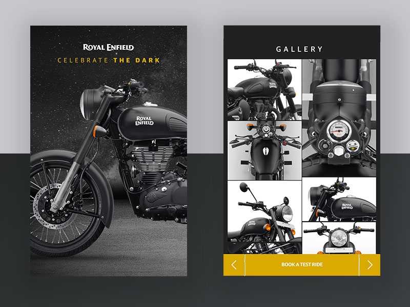 Motorcycle Gallery Page uitrends blackandwhite vintage classic royalenfield automobile motorcycle matte black minimal ux ui