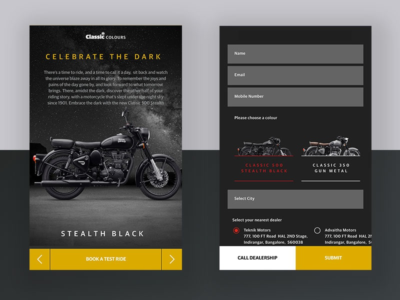 Motorcycle Booking Page bike blackandwhite vintage classic royalenfield automobile motorcycle matte black minimal ux ui