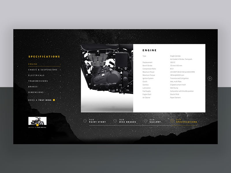 Motorcycle Specification Page bike blackandwhite vintage classic royalenfield automobile motorcycle matte black minimal ux ui
