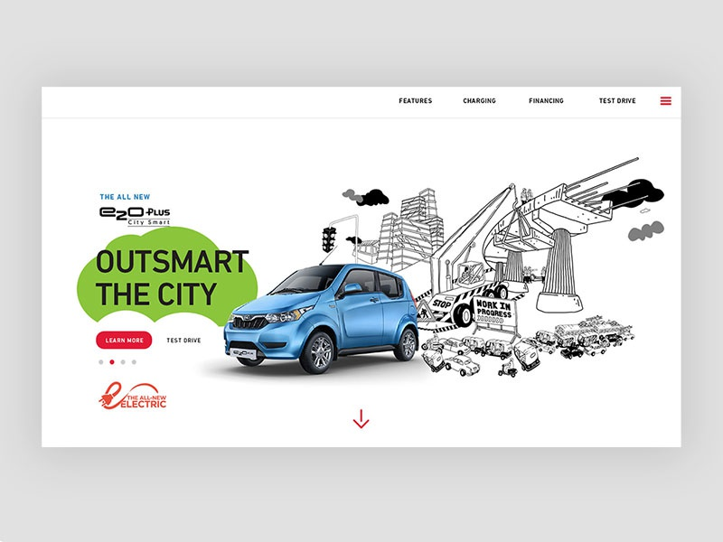 Landing page for Mahindra e20 plus Launch ecofriendly mahindra city lineart illustration electric car automobile minimal ux ui