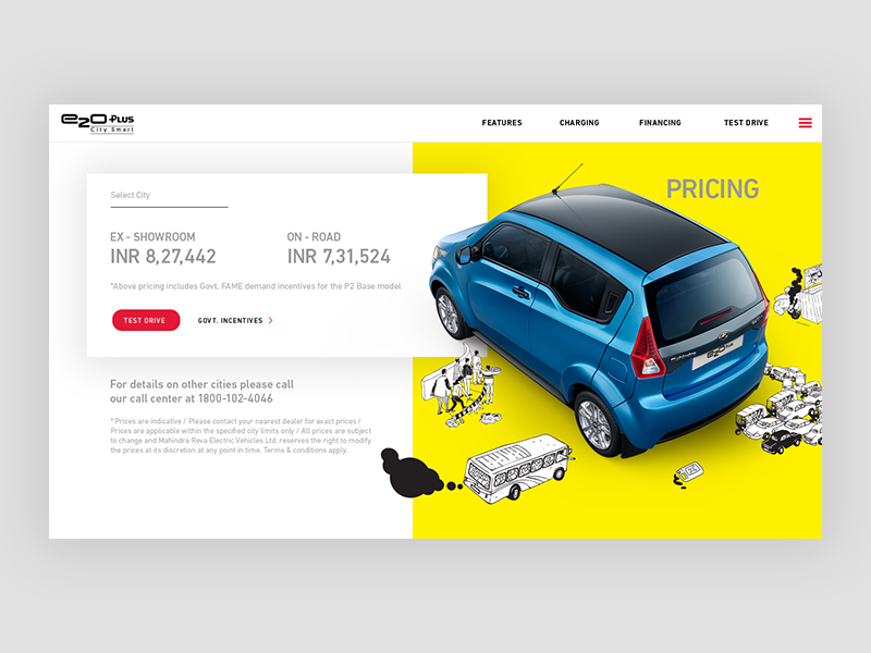 Mahindra Electric Car Price Page ecofriendly yellow lineart illustration electric car automobile price minimal ux ui