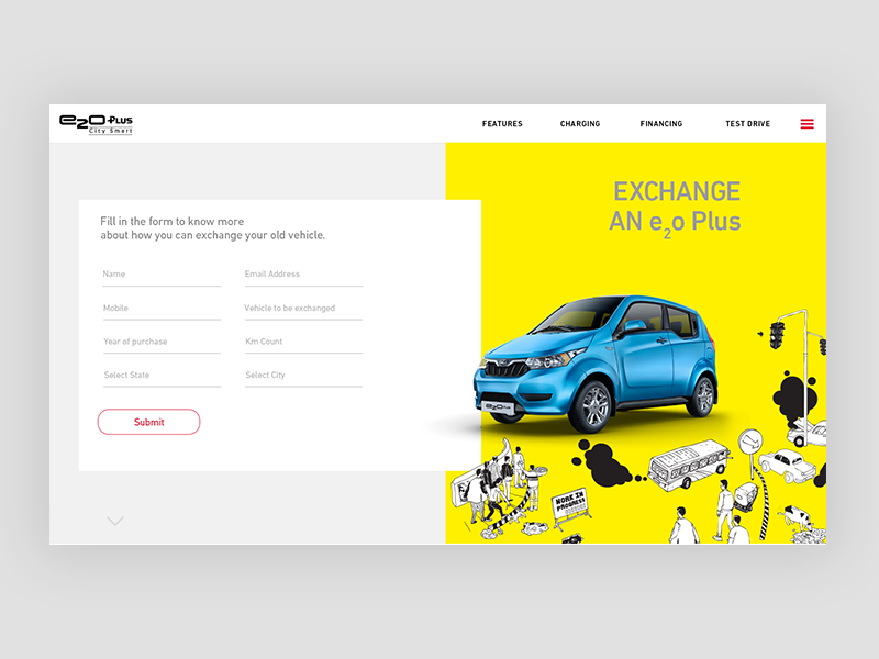 Mahindra Exchange your car ecofriendly city lineart illustration electric car automobile minimal ux ui