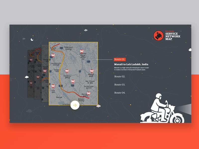 Service Network Map - Royal Enfield royalenfield rider ride sky illustration motorcycle minimal ux ui
