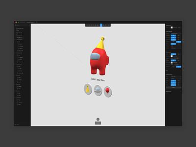 Among Us - Choose Your Item (Live Prototype) animation prototype 3dprototype interaction ui design 3dinteraction 3danimation 3dart