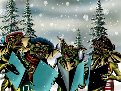 Unwanted Carolers gremlins comic book art retro 80s movies ipad procreate the futur illustration digital art fan art