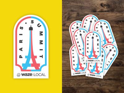 Waze - Paris Summit waze minimalism shapes typography illustration shirtdesign stickerdesign