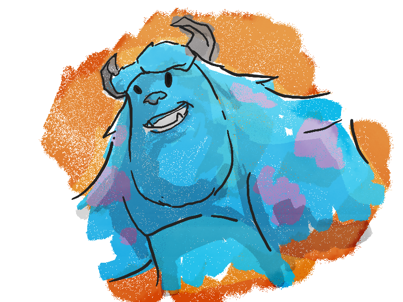 """I repeat, this is only a test"" sulley brushes photoshop pixar"