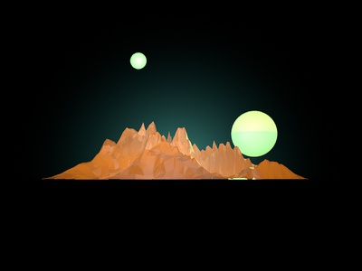 Two Moons glow moon mountain c4d