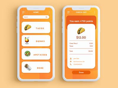 Taco App checkout food app mobile fun app ux ui design