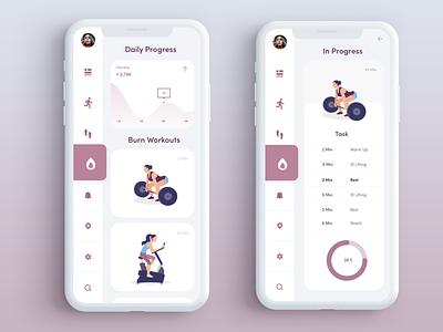 Workout App workout app workout illustration mobile fun interactive design minimal animation app ui design