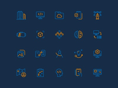 Clevyr Iconography blue orange iconset custom icons design icon set icon vector graphic design icons design illustration