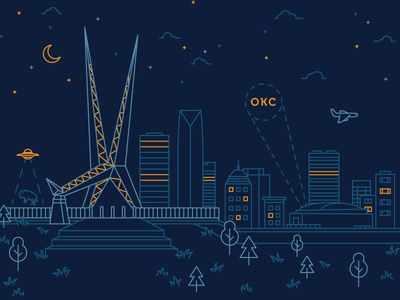 OKC Skydance Bridge spotlight ufo tshirt texture tee skyline oklahoma city okc illustration design graphic clevyr