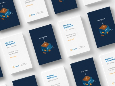 Clevyr Business Cards cards branding business card layout logo isometric pattern print stationery ar typography mark