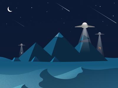 Building the Pyramids camel illustrator night stars light software ufo moon pyramids clevyr illustration