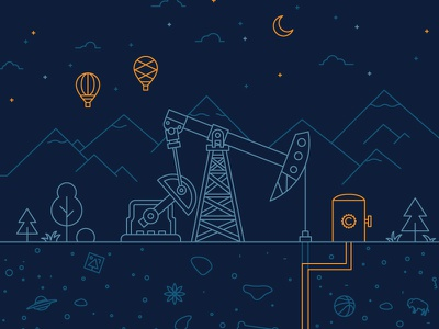 Oil - Energy Resources pump mountains hot air balloon oil clevyr graphic design illustration okc oklahoma city tee tshirt ufo