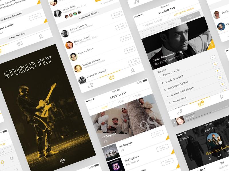 Studio Fly App prototype design artists interface mockup studio music app music app ux ui user interface