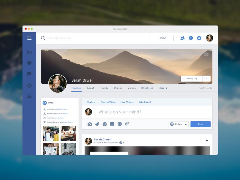 Facebook Lite (MacOS App) – Profile Page