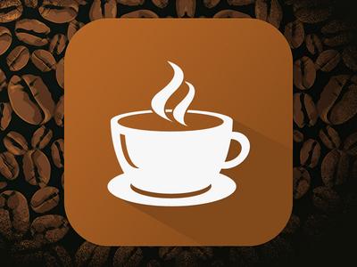 Coffee App iOS Long shadow icon