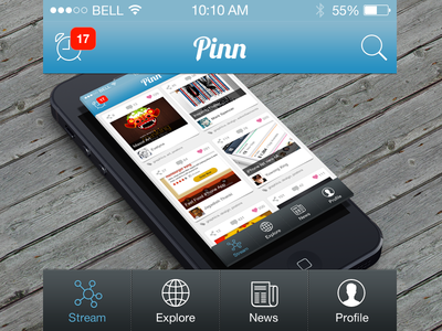 iOS app detail bar UI for Pinn