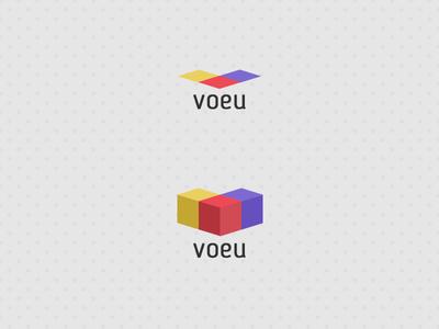 v for voeu v purple yellow red 3d logo
