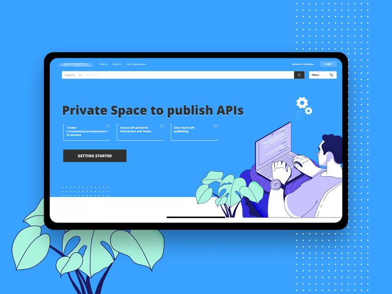 Landing Page Concept apis it blue landing page ui web design