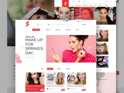 Make up beauty website uiux girl design web beauty up make
