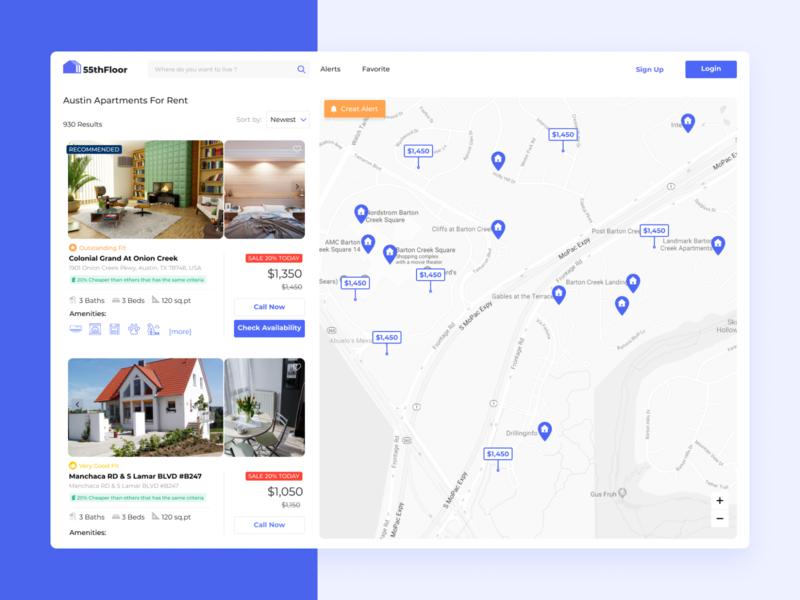 Map listing maps list view listing real estate uiux web design