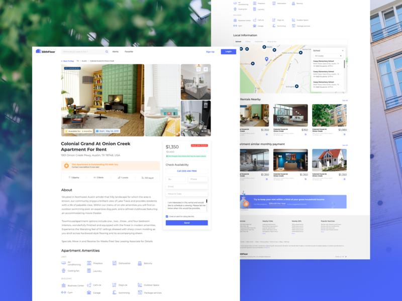 Apartment Detail detail page apartment real estate web uiux design