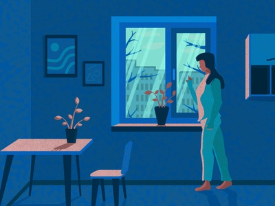 The girl at the window illustration girl blue