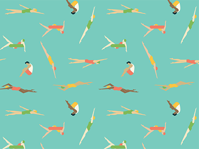 Swimmers pattern event vintage retro swimming vector design swimmers illustration pattern