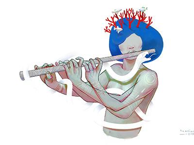 Flute girl colors art concept illustration girl flute character