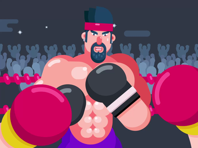 Boxing match fighting fighter boxing knockout characterdesign boxer animator animated loop animation character animation animation after effects animation 2d animated gif motiongraphics motion design animation
