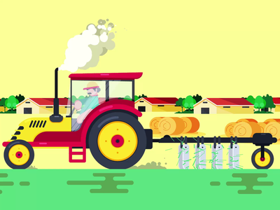 Tractor Animation car animation farmer tractor animated animator loop animation character animation animation after effects animation 2d animated gif motiongraphics motion design animation