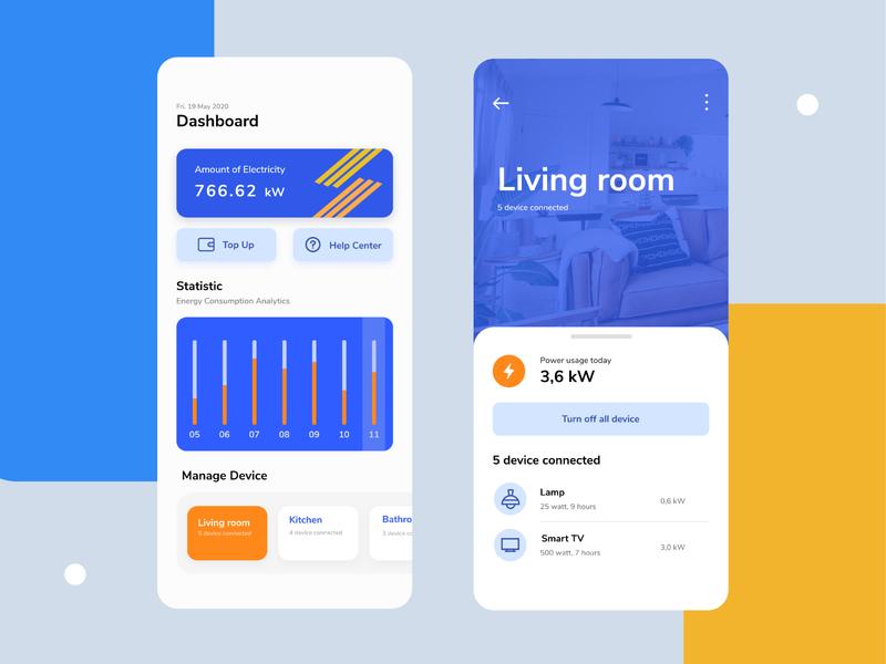 Energy Consume Monitoring App electricity smarthome flat design minimal branding app ui ux