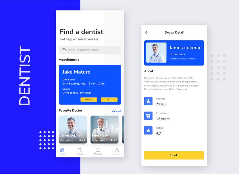 Dentist Finder App card dentist app design appointment ui ux typography minimal smarthome branding design app