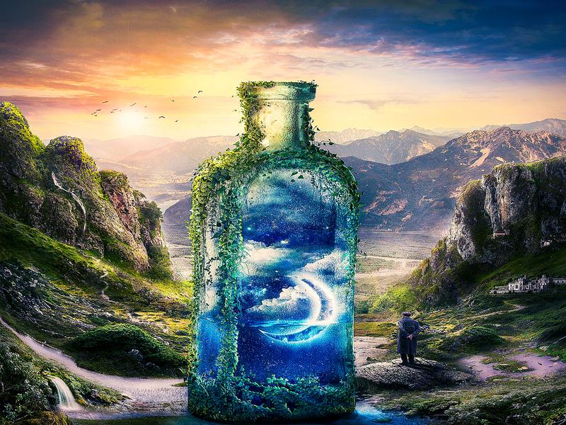 Surreal magical dream bottle landcsape manipulation surrealism composite  image