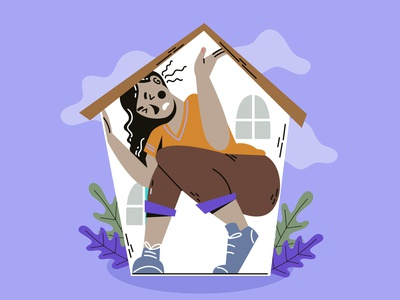 Cant get out of the house character art covid19 illustration