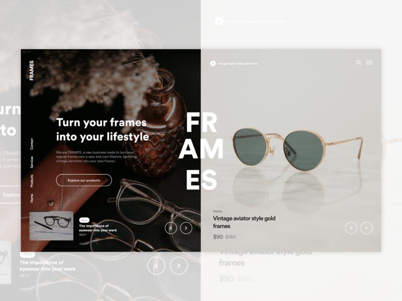 Eyewear Concept Landing Page store shop adobexd uxui ui design glasses design ux ui