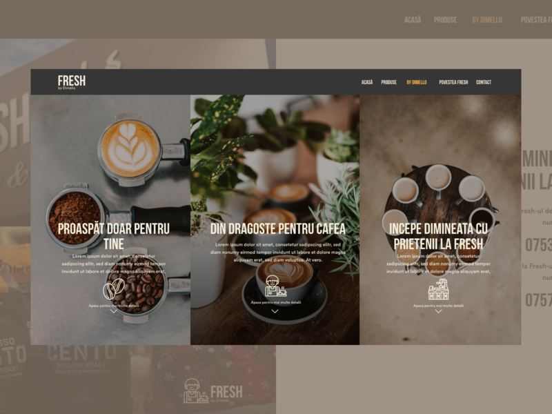 Coffee to go - Fresh - Concept Landing page landing page landing coffee shop coffee to go to go coffee adobexd design ux ui