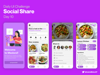 Daily UI #010 Social Share clean landing uxdesign uidesign cooking app recipe app recipe food cooking cook app mobile dailyui figma uxui ux design ui