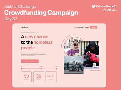Daily UI #32 Crowdfunding Campaign clean landing interface ui design app dailyui figma uxui ux design ui fund crowdfund crowdfunding crowdfunding campaign